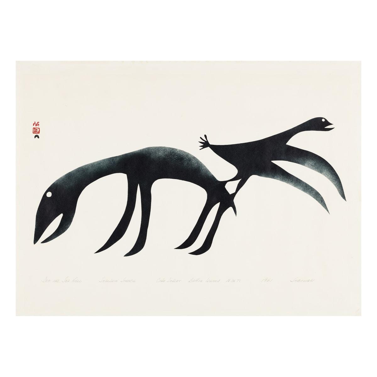 SHEOUAK PETAULASSIE (1923-1961) KINNGAIT (CAPE DORSET) Dog and Seagull, 1961 REALIZED: $2,040