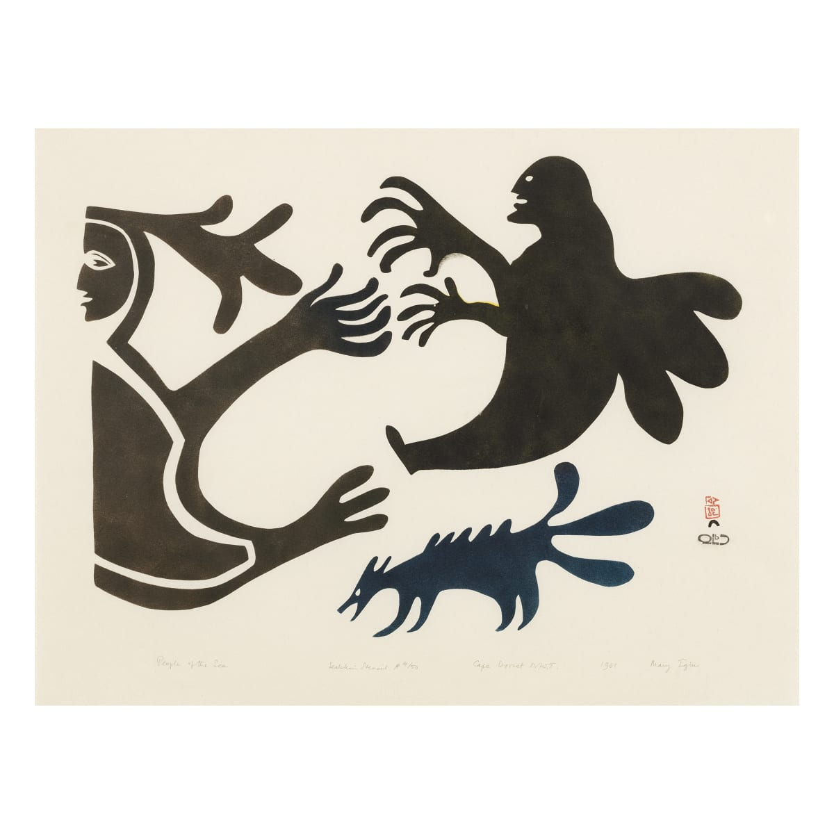 MARY IGIU (1925-1968) KINNGAIT (CAPE DORSET) People of the Sea, 1961 REALIZED: $2,400