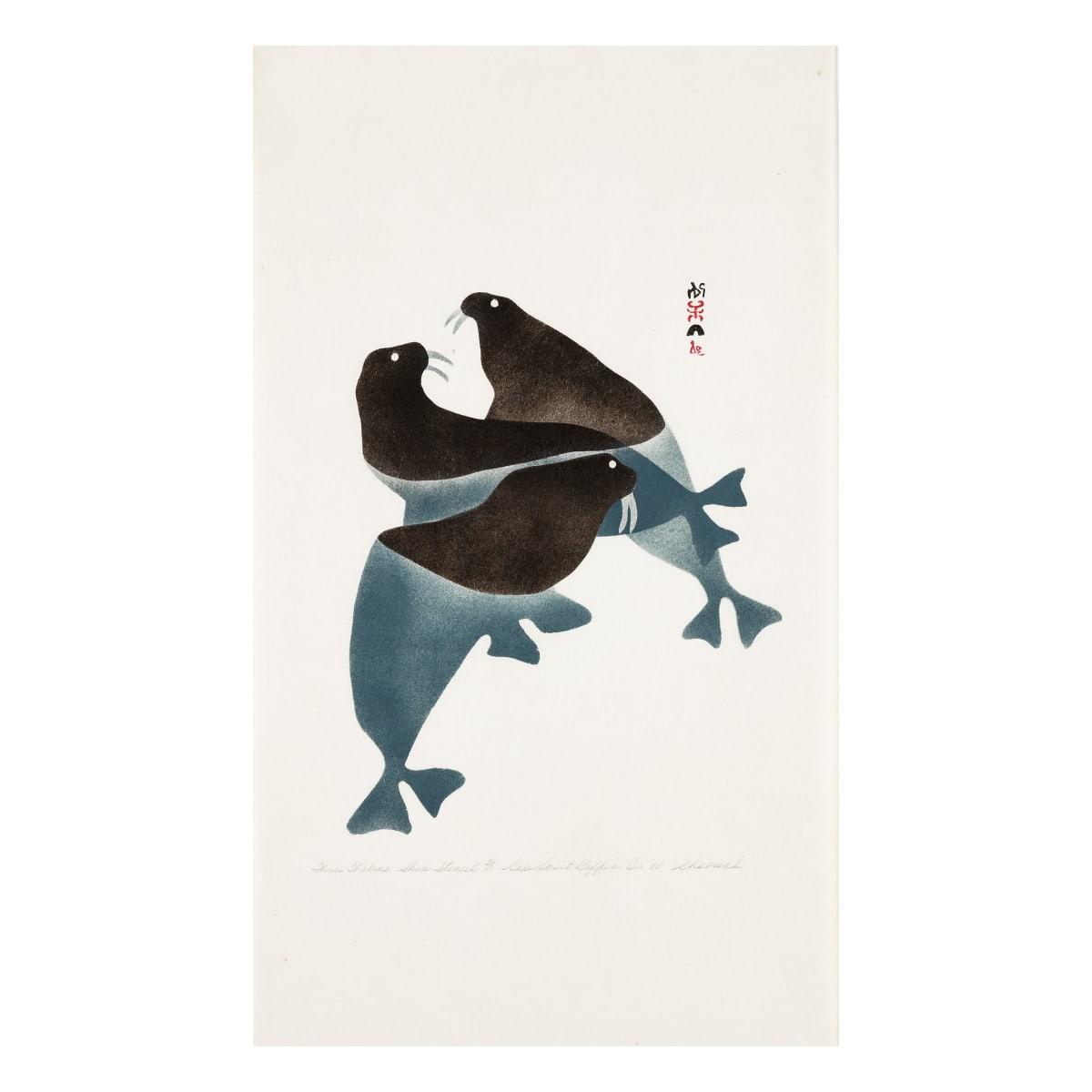 SHEOUAK PETAULASSIE (1923-1961) KINNGAIT (CAPE DORSET) Three Walrus, 1960 REALIZED: $5,280