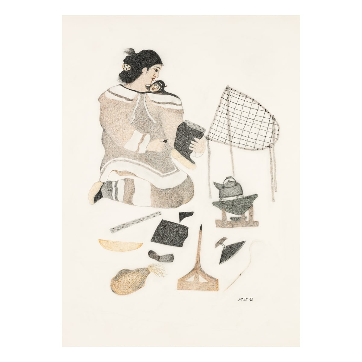 Pitaloosie Saila, R.C.A. (1942-) KINNGAIT (CAPE DORSET) Mother at Camp, Sewing a Kamik, 2012 REALIZED: $4,560