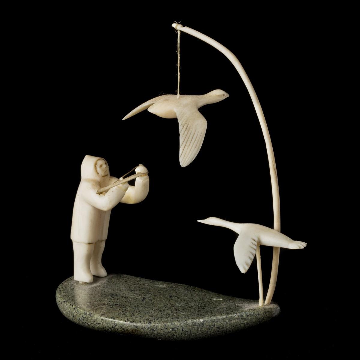 MARK TUNGILIK (1913-1986) NAUJAAT (REPULSE BAY) Bow Hunter and Two Birds, 1968 REALIZED: $2,400