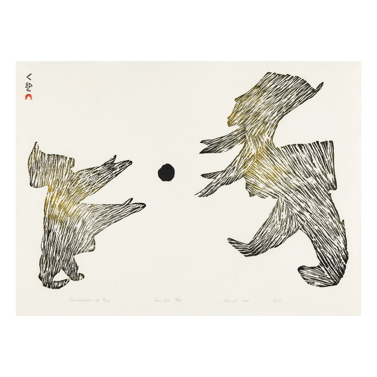 PARR (1893-1969) Kinngait (Cape Dorset) Innukshuks at Play, 1968 REALIZED: $2,400