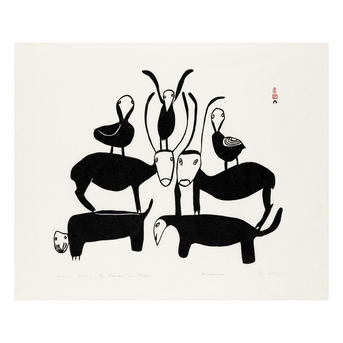 PITSEOLAK ASHOONA, O.C., R.C.A. (1904-1983) Kinngait (Cape Dorset) Caribou and Birds, 1963 REALIZED: $1,440