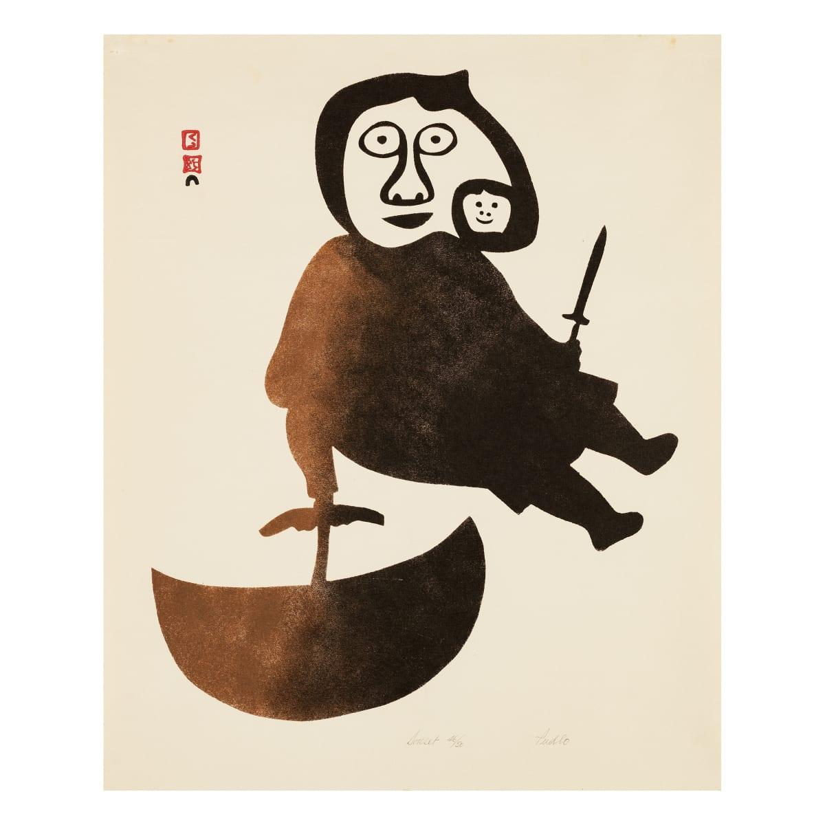 PUDLO PUDLAT (1916-1992) KINNGAIT (CAPE DORSET) Eskimo woman with Ulu, 1960 REALIZED: $3,120