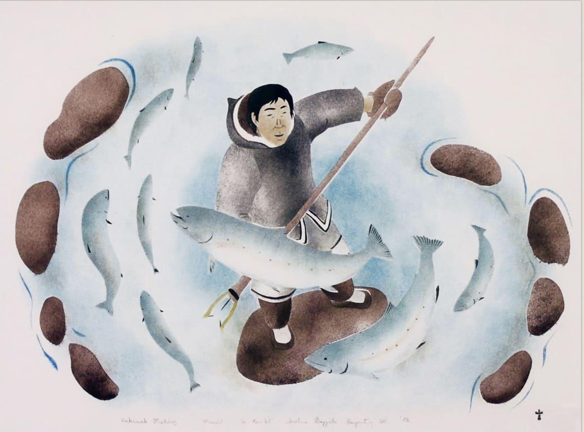 Lot 77 ANDREW QAPPIK (1964-) C.M., PANNIRTUQ (PANGNIRTUNG) Kakivak Fishing, 2004 stencil, framed, sight: 15 1/2 x 20 3/4 in (39.4 x 52.7 cm) Estimate: $400 — $600