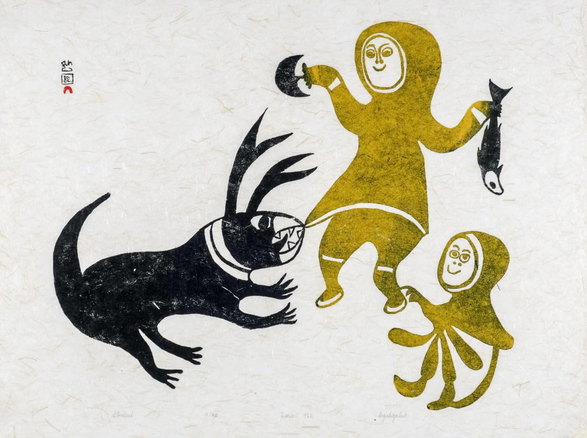 LOT 16 ANGOTIGALUK TEEVEE (1910-1967) KINNGAIT (CAPE DORSET) Untitled (Spirit Caribou Pulling Parka of Woman, Child), 1962 (1994) stonecut, 18 x 24 in (45.7 x 61 cm) ESTIMATE: $700 — $1,000