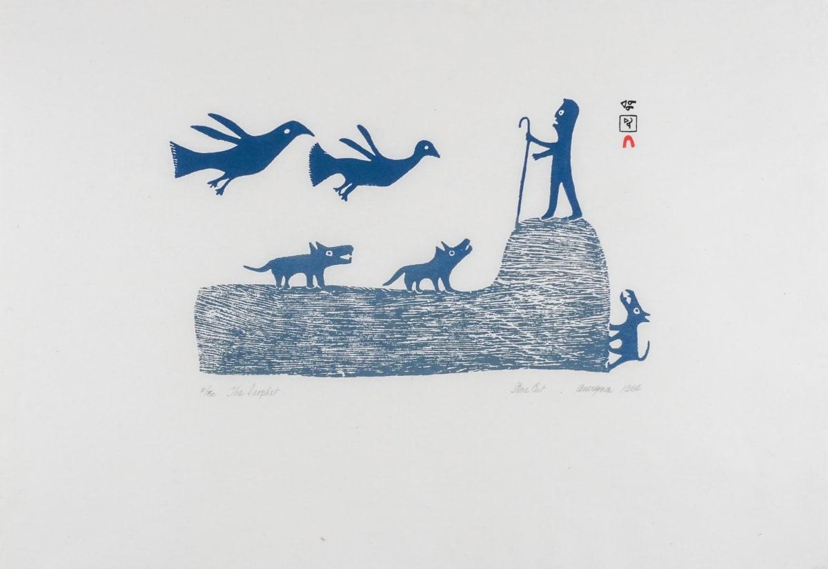 LOT 34 ANIRNIK OSHUITOQ (1902-1983) KINNGAIT (CAPE DORSET) The Prophet, 1963 (1994) stonecut, 17 x 24 1/2 in (43.2 x 62.2 cm) ESTIMATE: $500 - $700
