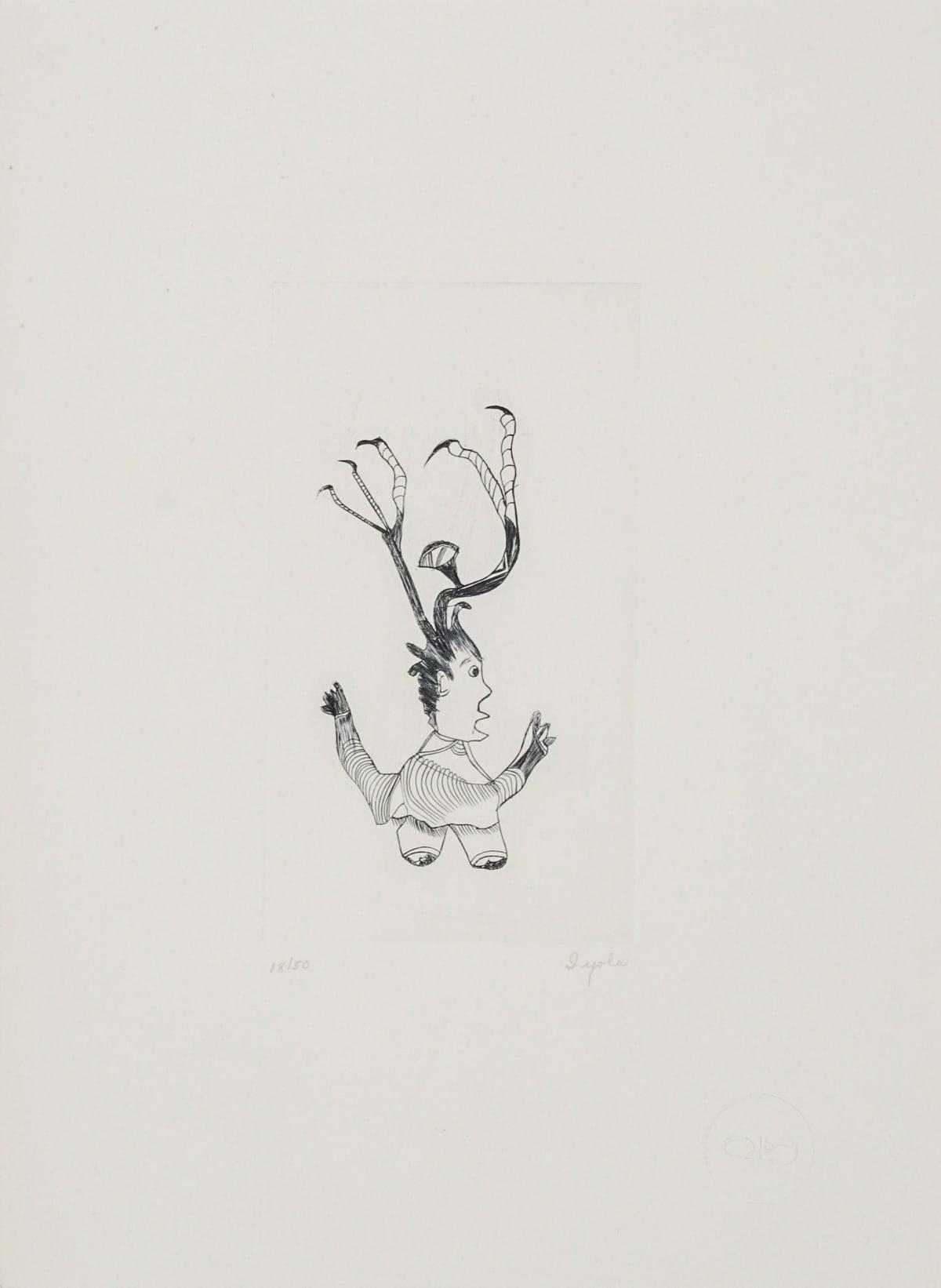 LOT 70 IYOLA KINGWATSIAK (1933-2000) KINNGAIT (CAPE DORSET) Untitled (2-62), 1962 engraving plate: 6 3/4 x 3 3/4 in (17.1 x 9.5 cm) sheet: 13 x 9 1/2 in (33 x 24.1 cm) ESTIMATE: $400 — $600
