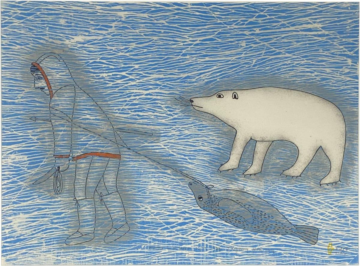 LOT 65 JANET KIGUSIUQ (1926-2005) QAMANI'TUAQ (BAKER LAKE) Hunter in a Storm, (1983/4) , 1996 stonecut and stencil, framed, sight: 16 1/2 x 22 3/4 in (41.9 x 57.8 cm) ESTIMATE: $400 — $600