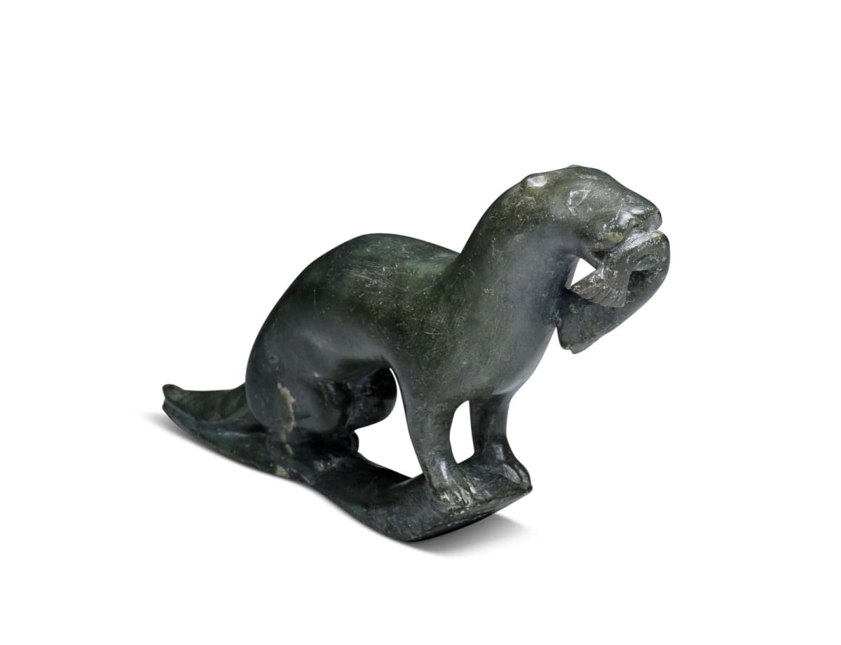 LOT 30 JOE TALIRUNILI (1893-1976) PUVIRNITUQ (POVUNGNITUK) Ermine with Caught Fish, c. 1965 stone, 3 x 5 3/4 x 1 1/4 in (7.6 x 14.6 x 3.2 cm) ESTIMATE: $700 — $1,000
