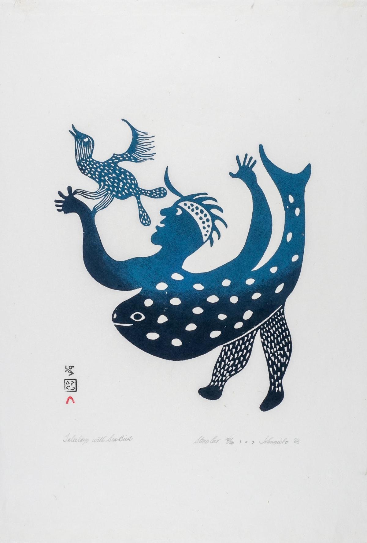 LOT 18 JOHNNIEBO ASHEVAK (1923-1972) KINNGAIT (CAPE DORSET) Taleelayo with Sea Bird, 1965 stonecut, 25 x 17 in (63.5 x 43.2 cm) ESTIMATE: $600 — $900