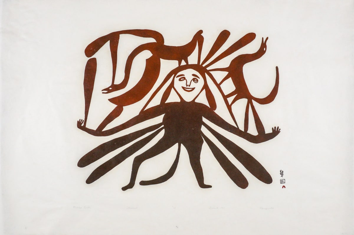 LOT 9 KENOJUAK ASHEVAK, C.C., R.C.A. (1927-2013) KINNGAIT (CAPE DORSET) Mother Earth, 1961 (2012) stonecut on Kozo Natural paper, 24 x 36 in (61 x 91.4 cm) ESTIMATE: $1,500 — $2,500