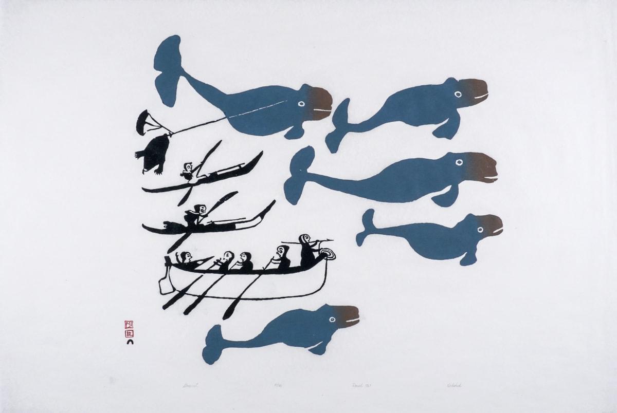 LOT 33 KIAKSHUK (1886-1966) KINNGAIT (CAPE DORSET) Untitled (Kayaks, Umiaks, 5 Whales), 1961 (1994) stonecut, 24 1/4 x 36 in (61.6 x 91.4 cm) ESTIMATE: $2,000 — $3,000