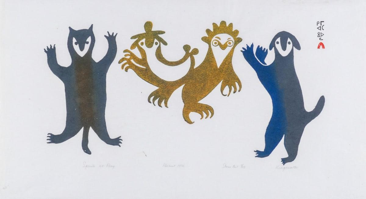 LOT 15 KINGMEATA ETIDLOOIE (1915-1989) KINNGAIT (CAPE DORSET) Spirits at Play, 1970 stencil, 13 x 24 in (33 x 61 cm) ESTIMATE: $800 — $1,200
