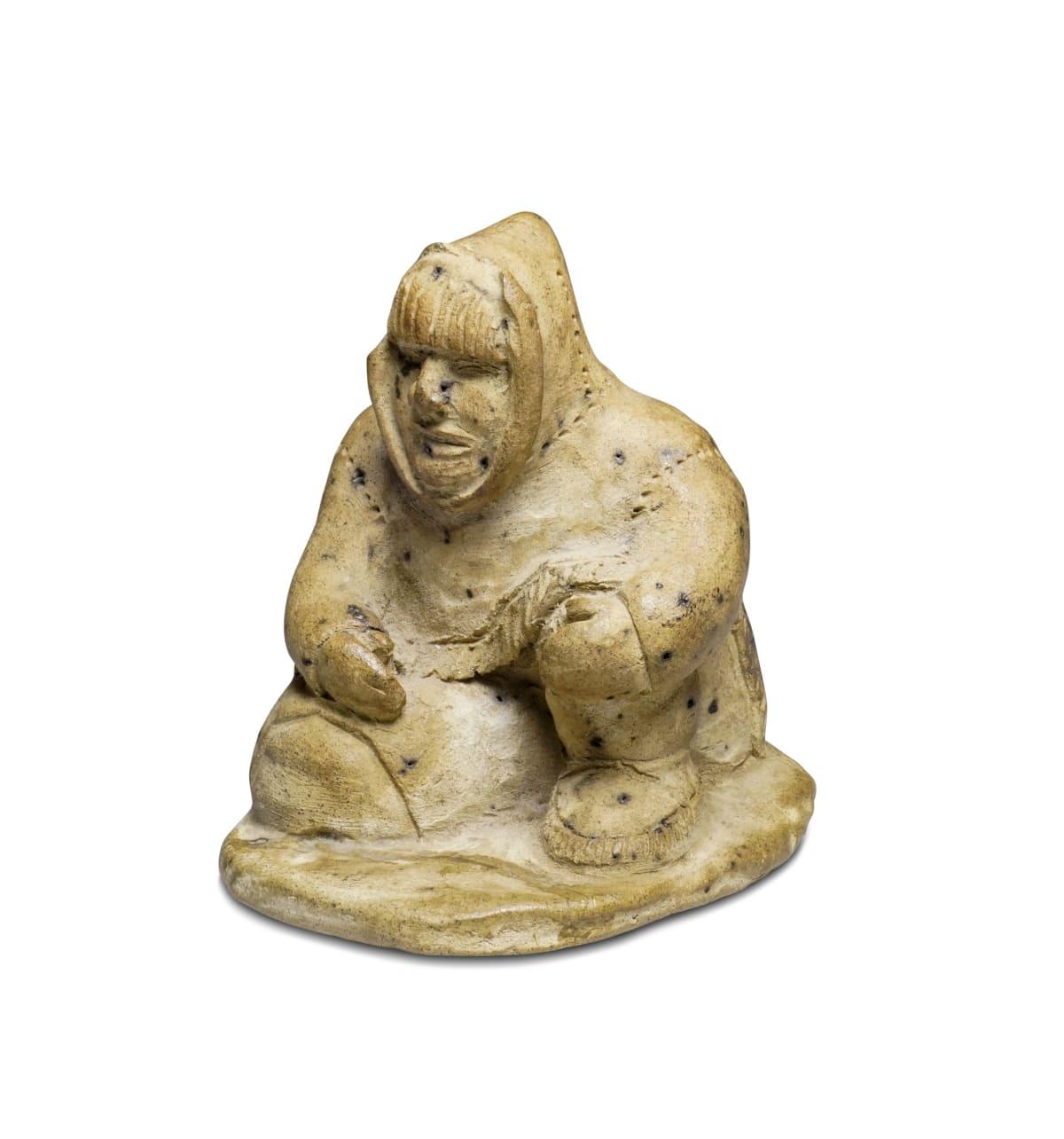 LOT 45 LAURENT AKSADJUAK (1935-2002) KANGIQLINIQ (RANKIN INLET) Seated Hunter, early 1970s ceramic, 3 x 2 1/2 x 3 in (7.6 x 6.3 x 7.6 cm) ESTIMATE: $500 — $800