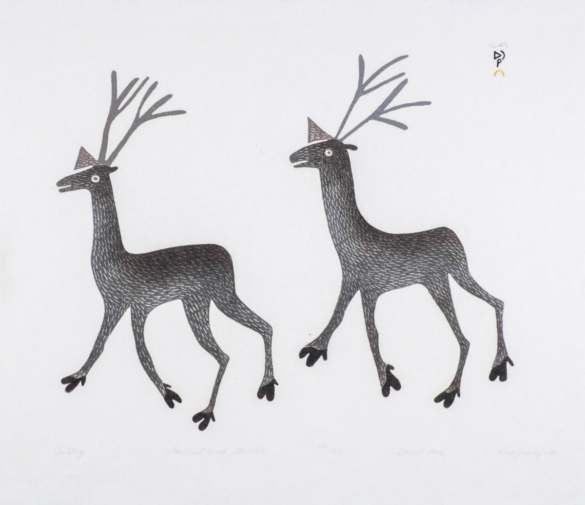 LOT 39 MARY KUDJUAKJU (1908-1982) KINNGAIT (CAPE DORSET) Tuktuq, 1982 stonecut and stencil, 19 x 22 in (48.3 x 55.9 cm) ESTIMATE: $400 — $600