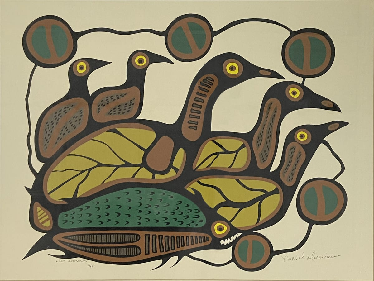 LOT 63 NORVAL MORRISSEAU, C.M. (1931-2007) ANISHINAABE Loon Gathering silkscreen, framed, sight: 19 1/4 x 25 3/4 in (48.9 x 65.4 cm) ESTIMATE: $400 — $600