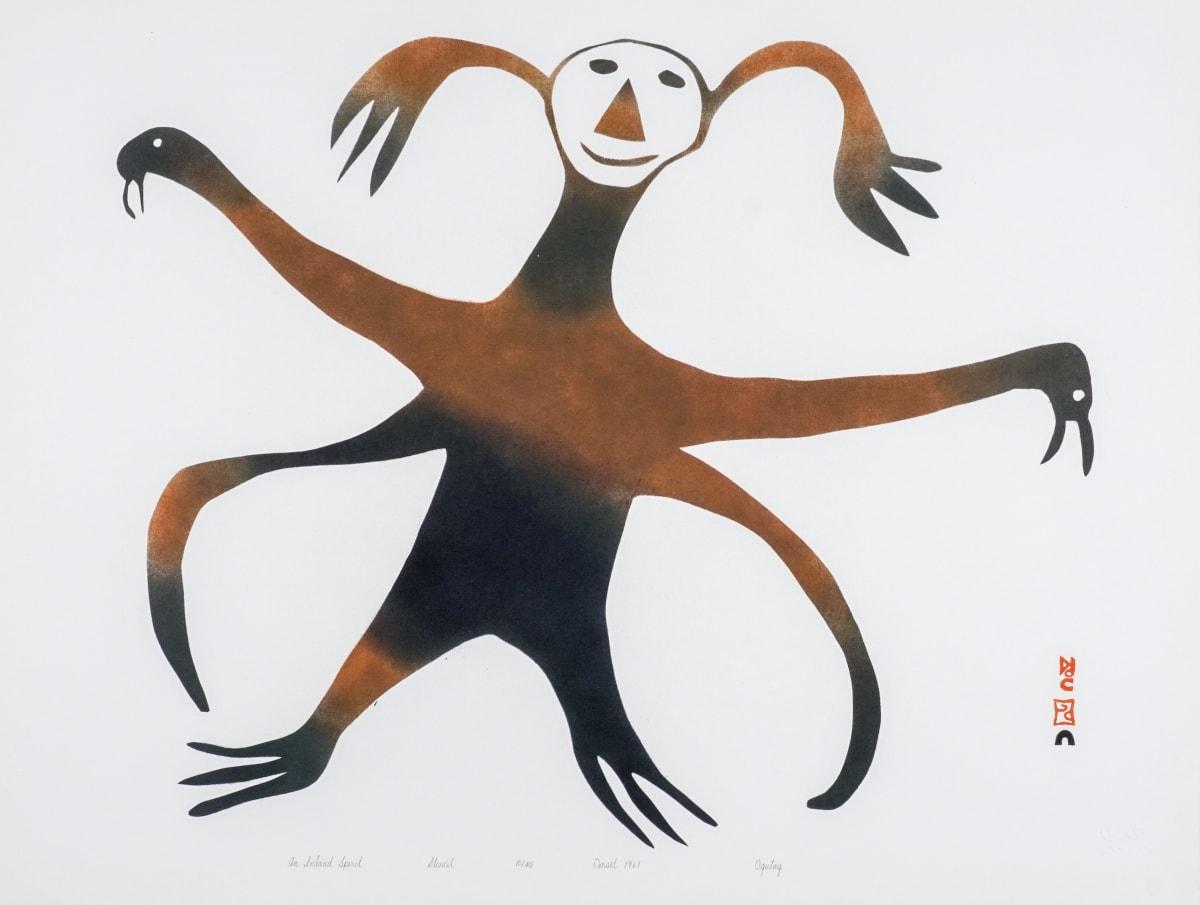 LOT 43 OHOTAQ MIKKIGAK (1936-2014) KINNGAIT (CAPE DORSET) An Inland Spirit, 1961 stencil, 19 x 24 in (48.3 x 61 cm) ESTIMATE: $1,000 — $1,500