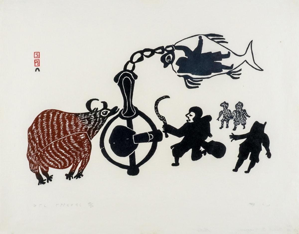 LOT 67 PUDLO PUDLAT (1916-1992) KINNGAIT (CAPE DORSET) Musk Ox Trappers, 1963 stonecut, 19 x 24 in (48.3 x 61 cm) ESTIMATE: $600 — $900