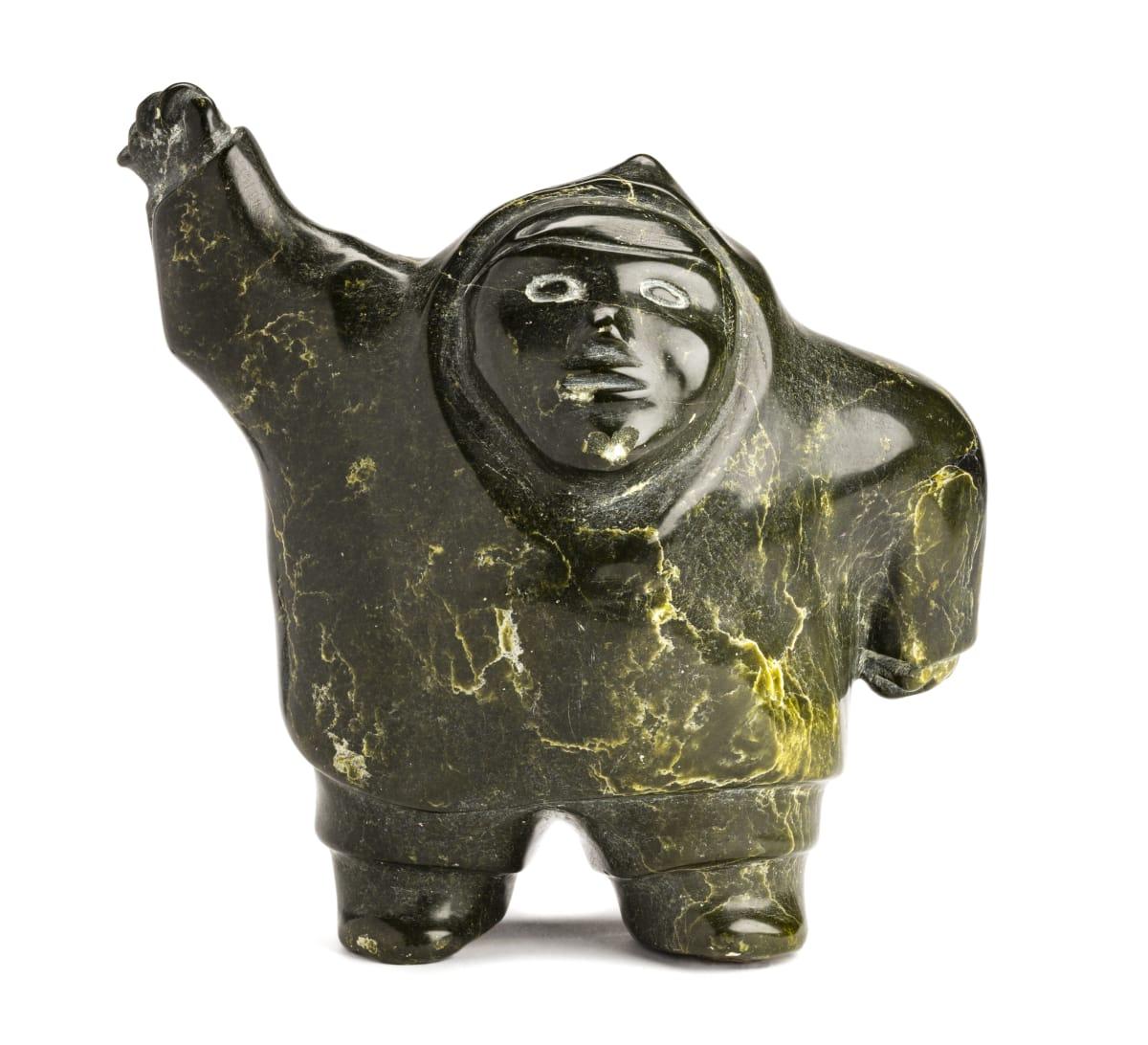 LOT 28 QAQASIRALAQ KULLUALIK (1913-1983) PANNIQTUUQ (PANGNIRTUNG) Waving Man, c. late 1960s stone, 9 1/4 x 9 x 5 in (23.5 x 22.9 x 12.7 cm) ESTIMATE: $1,000 — $1,500