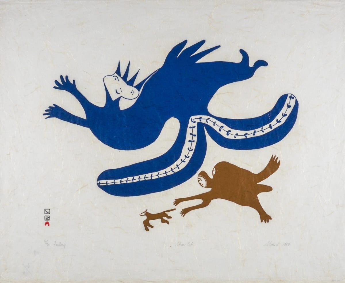 LOT 37 SHARNI POOTOOGOOK (1922-2003) KINNGAIT (CAPE DORSET) Fantasy, 1964 stonecut, 24 3/4 x 30 in (62.9 x 76.2 cm) ESTIMATE: $500 — $800