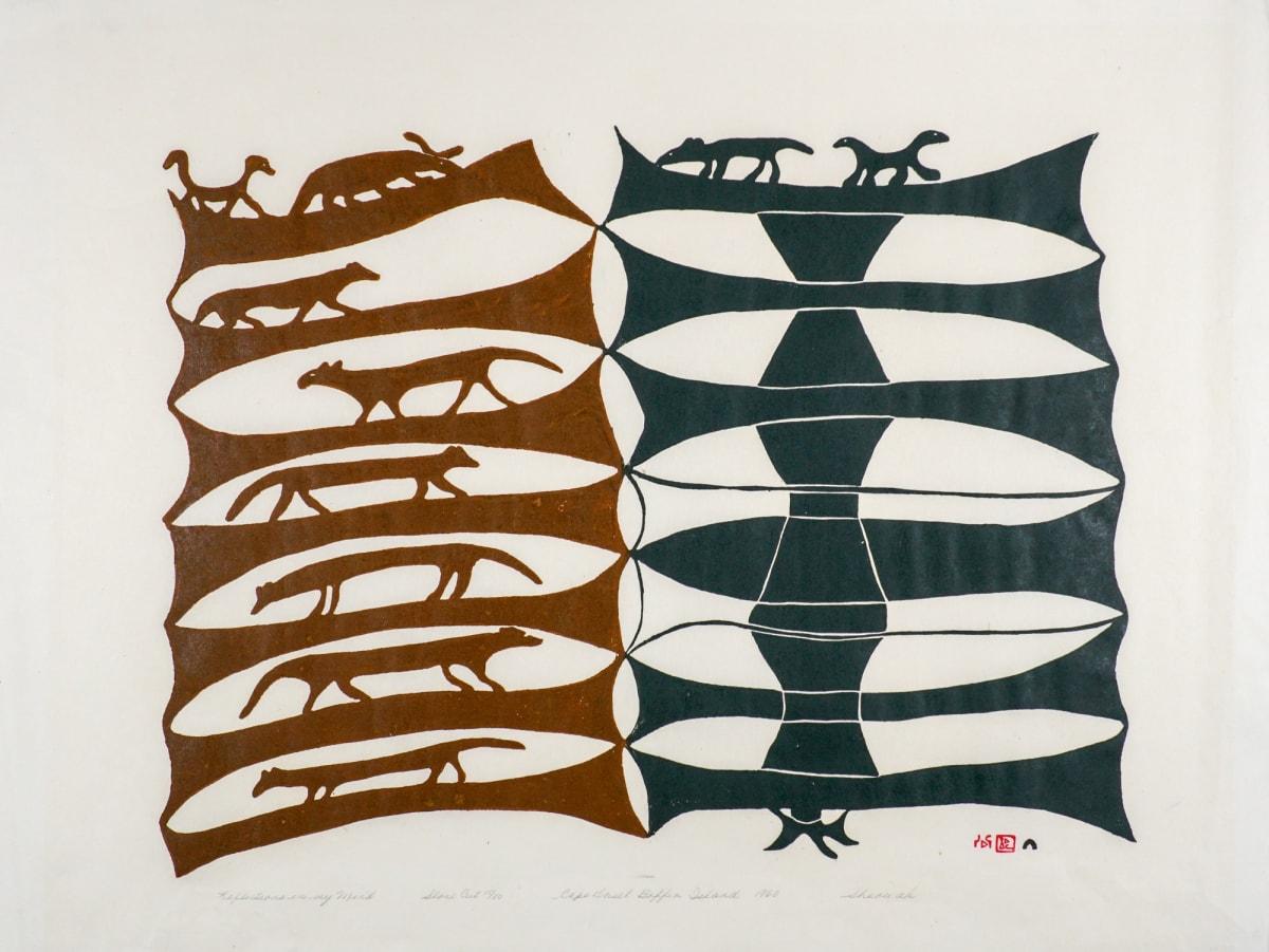 LOT 19 SHEOUAK PETAULASSIE (1918-1961) KINNGAIT (CAPE DORSET) Reflections in my Mind, 1960 stonecut, 23 3/4 x 32 1/4 in (60.3 x 81.9 cm) 15/50 ESTIMATE: $1,800 — $2,800