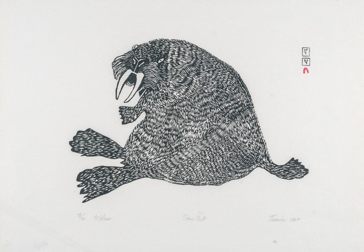 LOT 60 TUMIRA ASHOONA (1943-) KINNGAIT (CAPE DORSET) Walrus, 1964 stonecut, 17 x 24 3/4 in (43.2 x 62.9 cm) ESTIMATE: $400 — $600