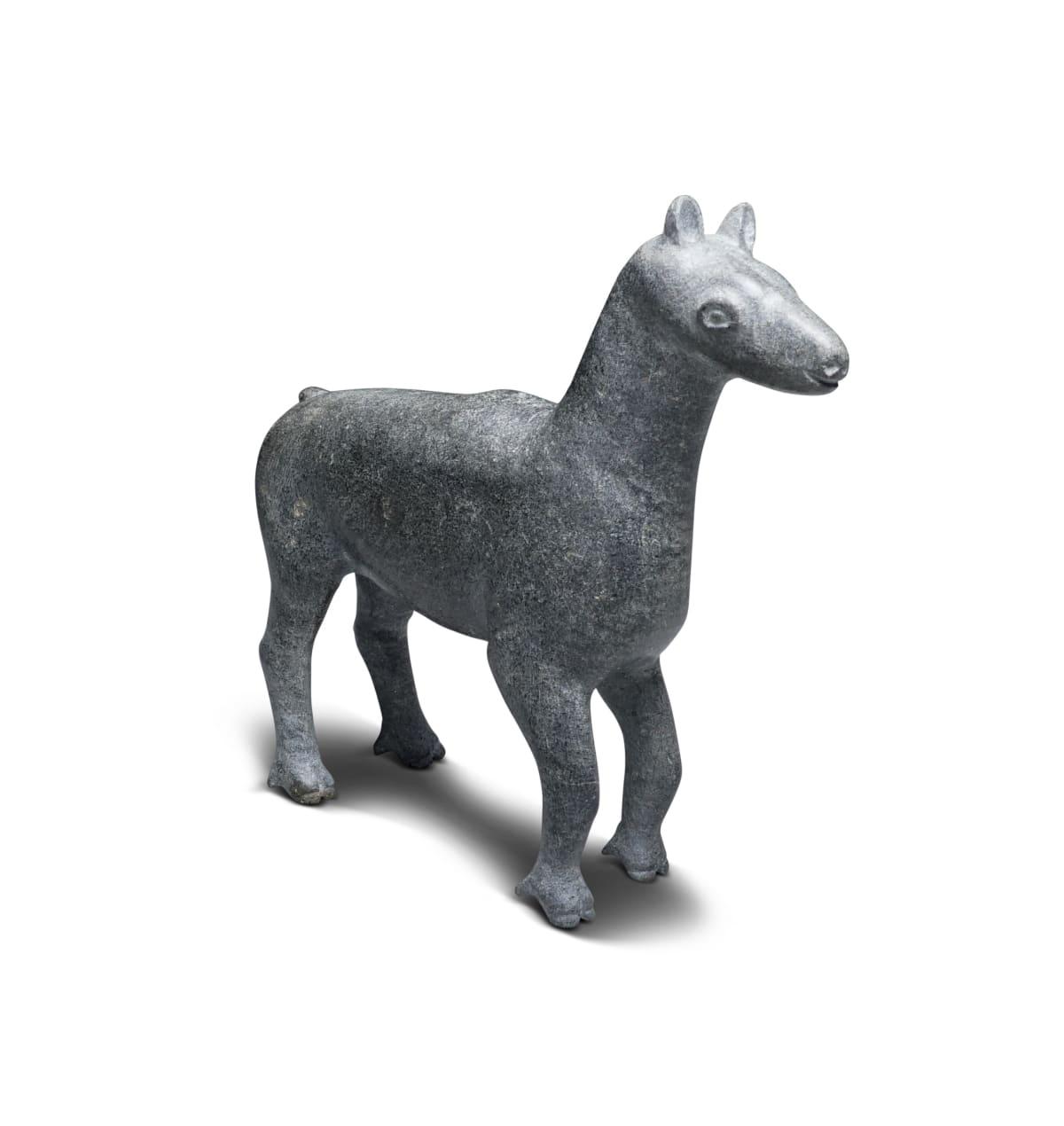 LOT 55 Probably: SAMMY NASSAK (1905-1988) KANGIRSUK (PAYNE BAY / BELLIN) Caribou Calf stone, 5 1/2 x 6 x 2 in (14 x 15.2 x 5.1 cm) ESTIMATE: $400 — $600