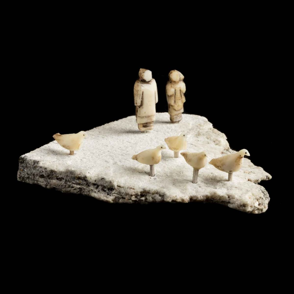 21. UNIDENTIFIED ARTIST, ARCTIC BAY Scene with Man, Woman, and Five Birds, c. late 1960s