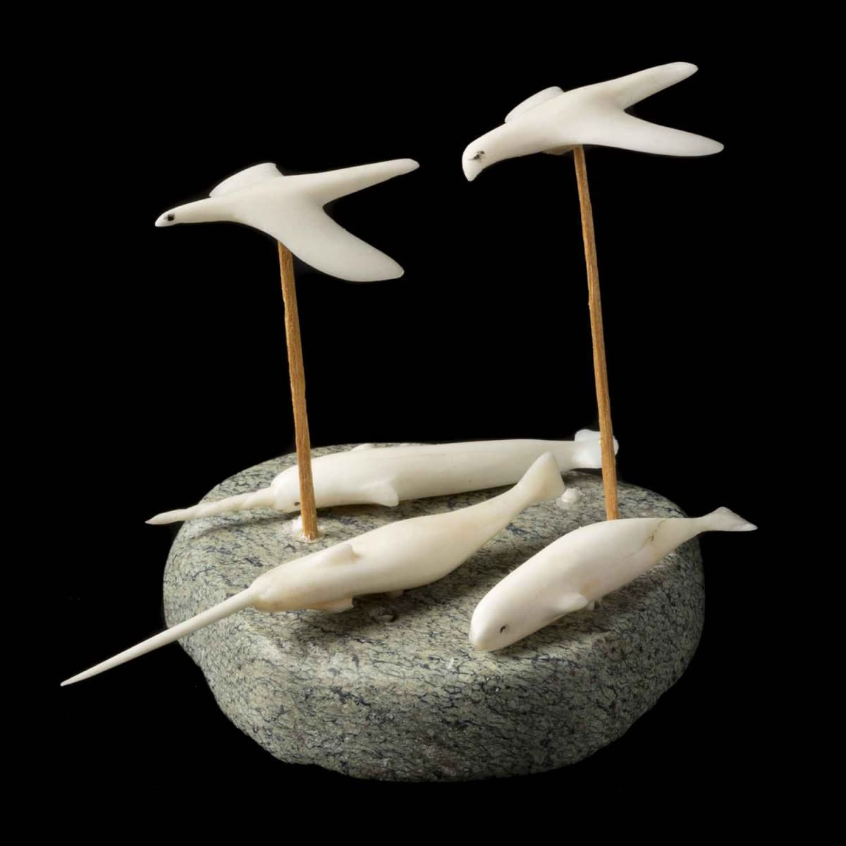 2. MARGUERITE ANERNERK KATOKRA (1934-), NAUJAAT (REPULSE BAY), Two Flying Birds, Two Narwhals and a Beluga, 1970