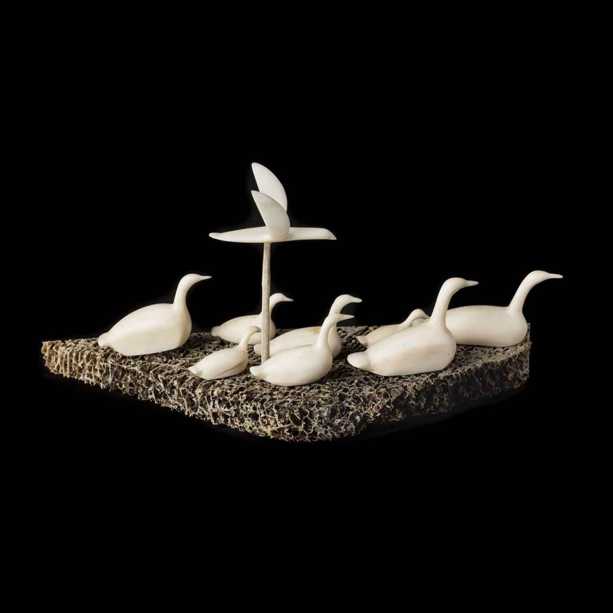 12. UNIDENTIFIED ARTIST, KUGAARUK (PELLY BAY) Nine Swimming and Flying Bird, 1970