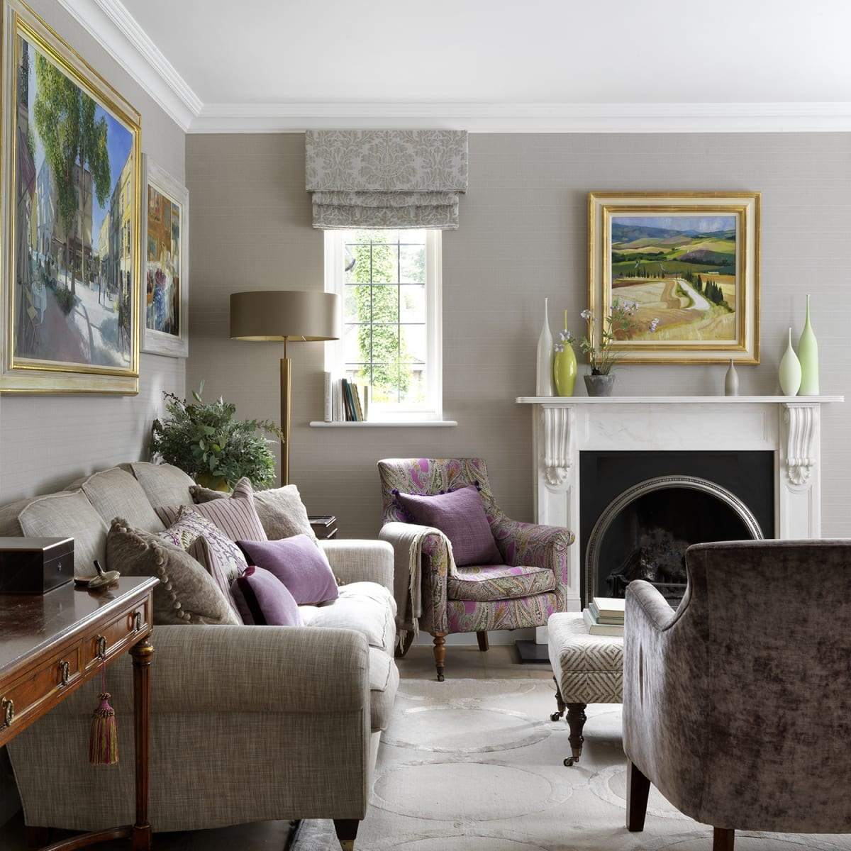 Sitting room interior with soft palette featuring work by Jack Morrocco