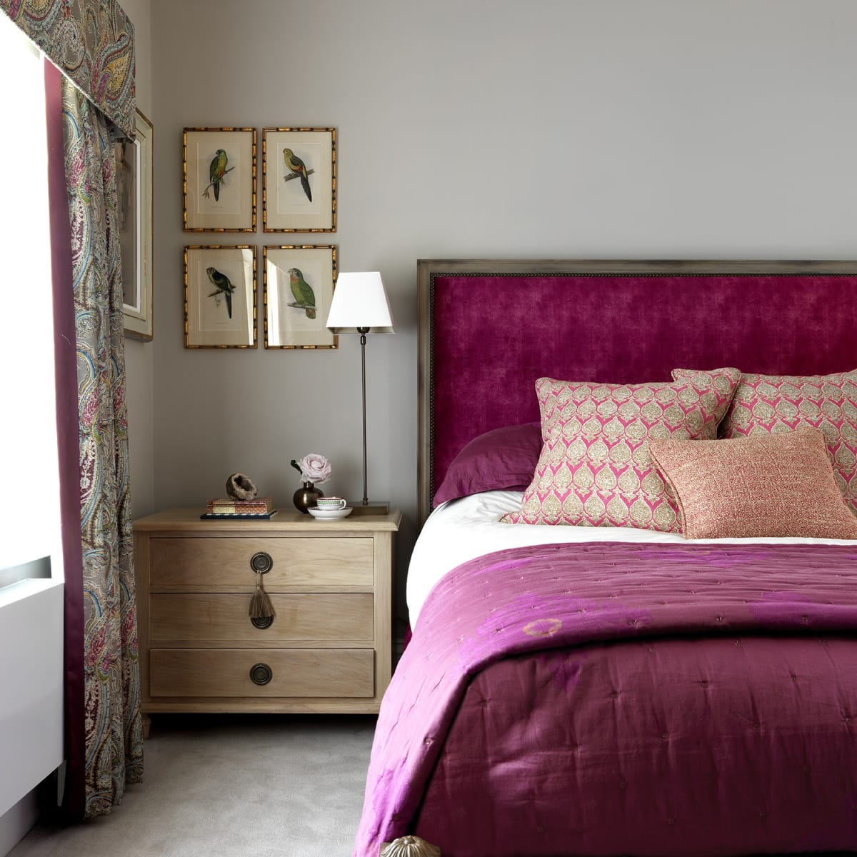 Vintage parrot prints sourced for a Nina Campbell styled bedroom