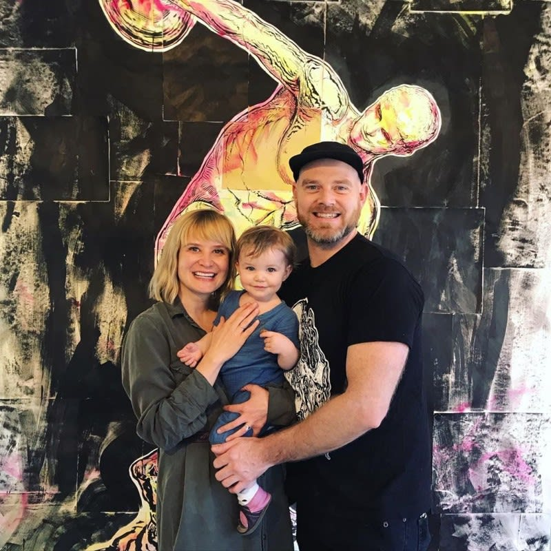 Artists Thais Mather and Todd Ryan White with their daughter, Ember