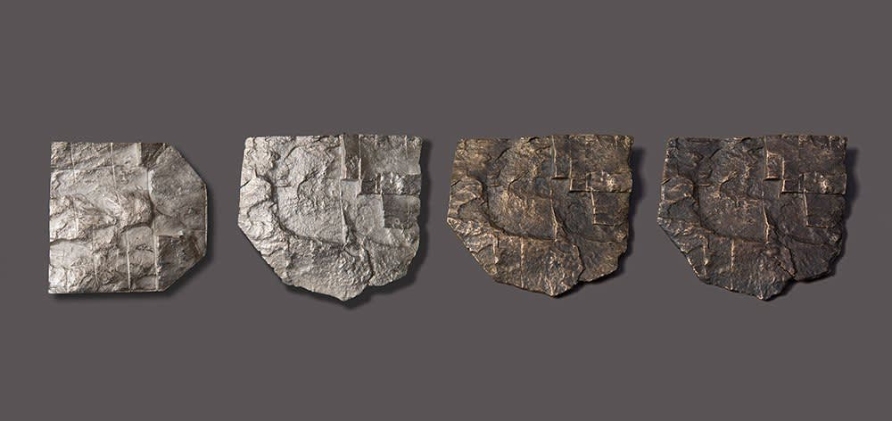 Robert Ebendorf, Cast Rock Brooches, 1969, bronze, silver and copper