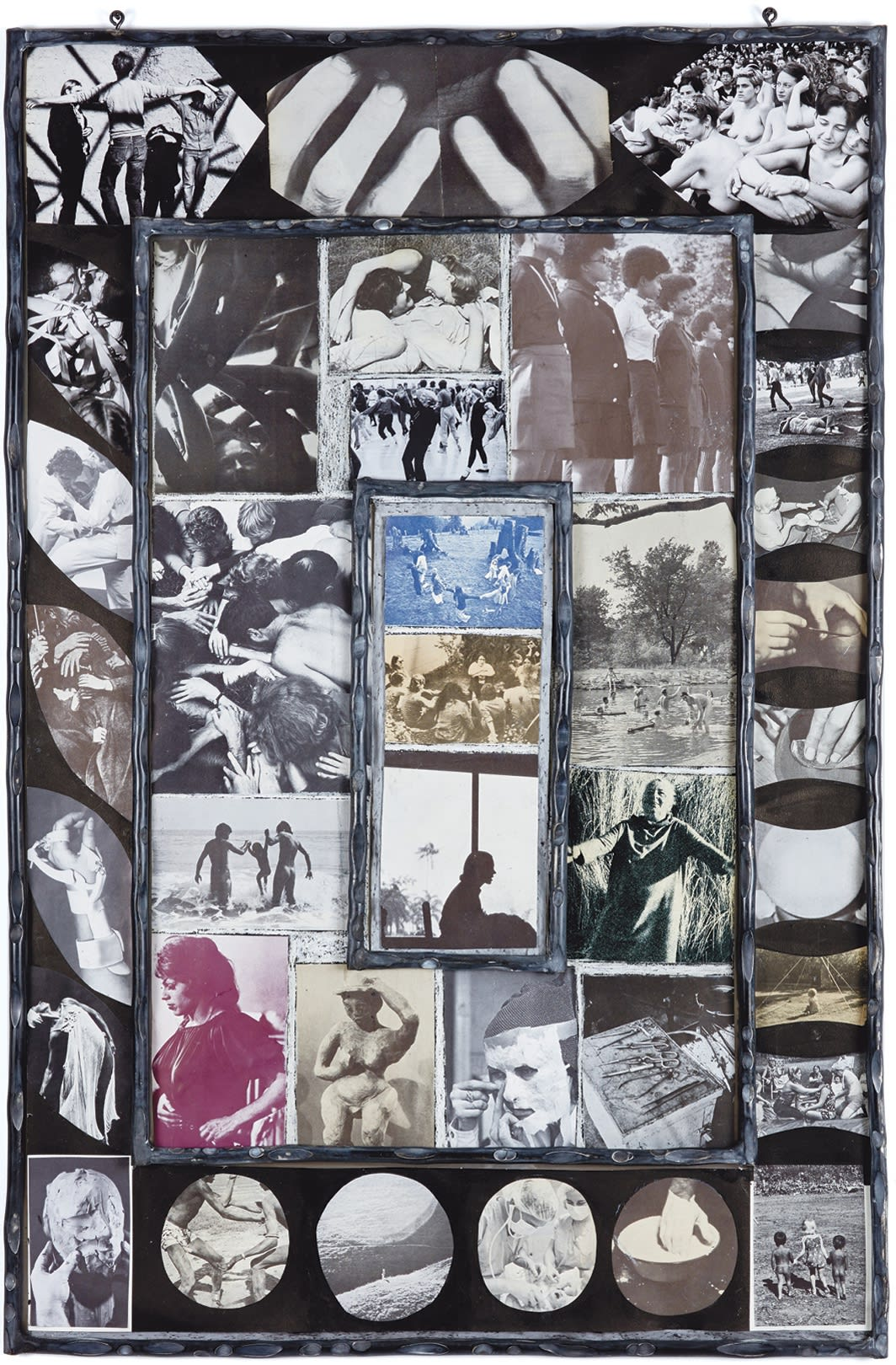 Carmen Winant, Togethering 9, 2020, oil pastel, found images on paper, sumi ink, aluminum frame, 41 × 27""
