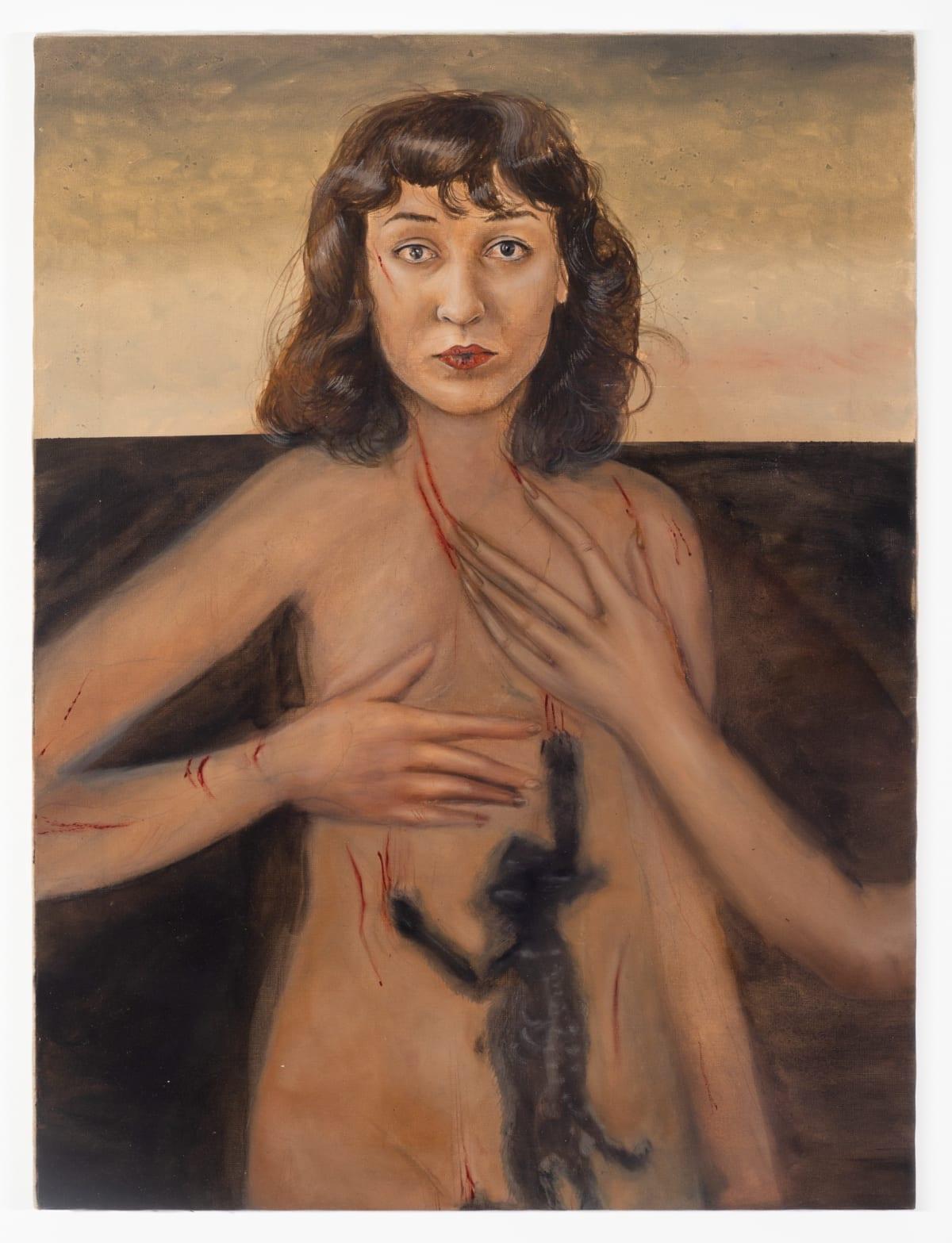 Agata Slowak, Self-portrait with little cat, 2021, Oil on canvas 31 1/2 x 23 5/8 in, 80 x 60 cm