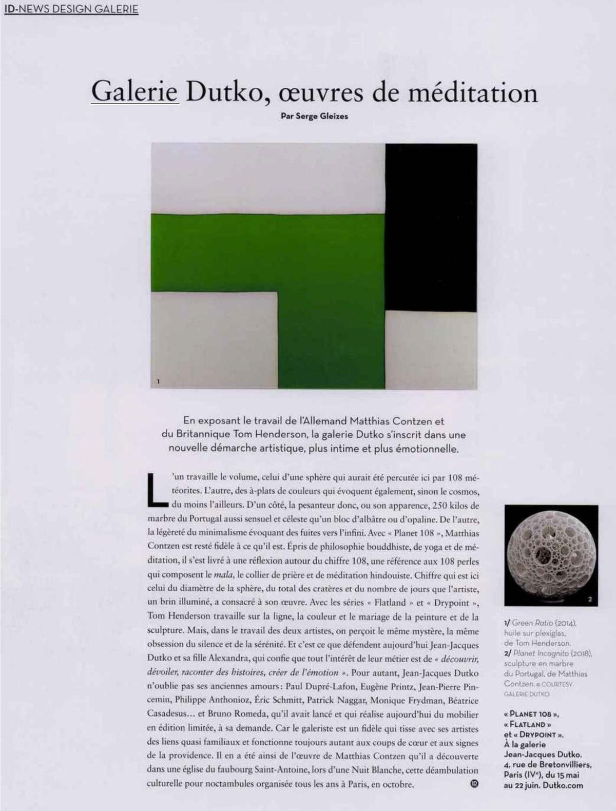 IDEAT - Galerie Dutko, oeuvres de méditation