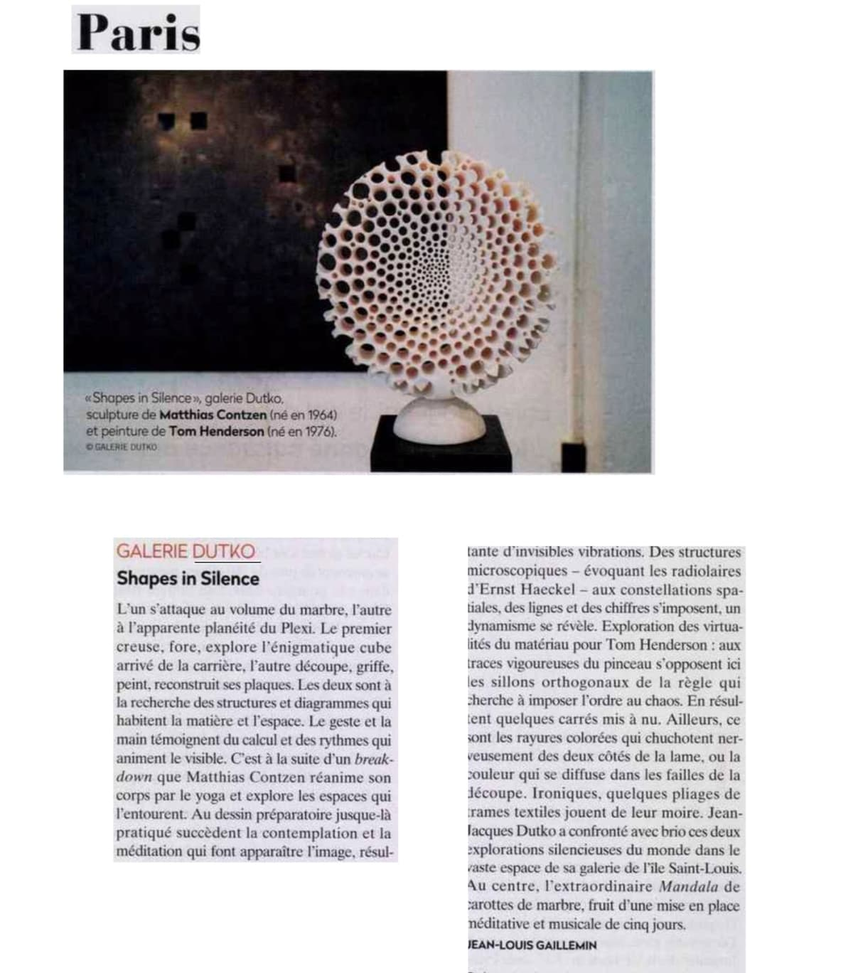 LA GAZETTE DROUOT - Shapes in Silence