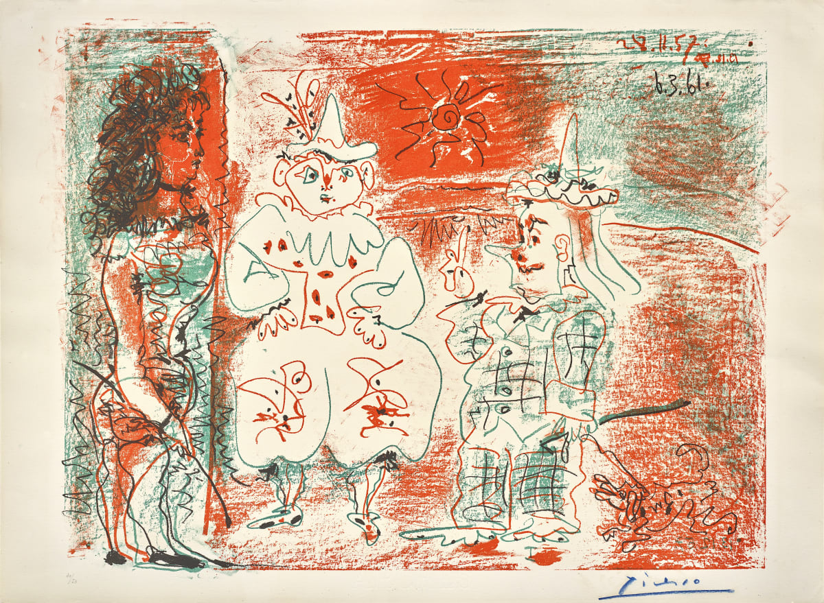 Pablo Picasso L'Ecuyère et les Clowns, 1961 Lithograph on Arches paper, final state 56.1 x 76.5 cm Numbered 30/50 in crayon at the bottom left, Printed by Mourlot