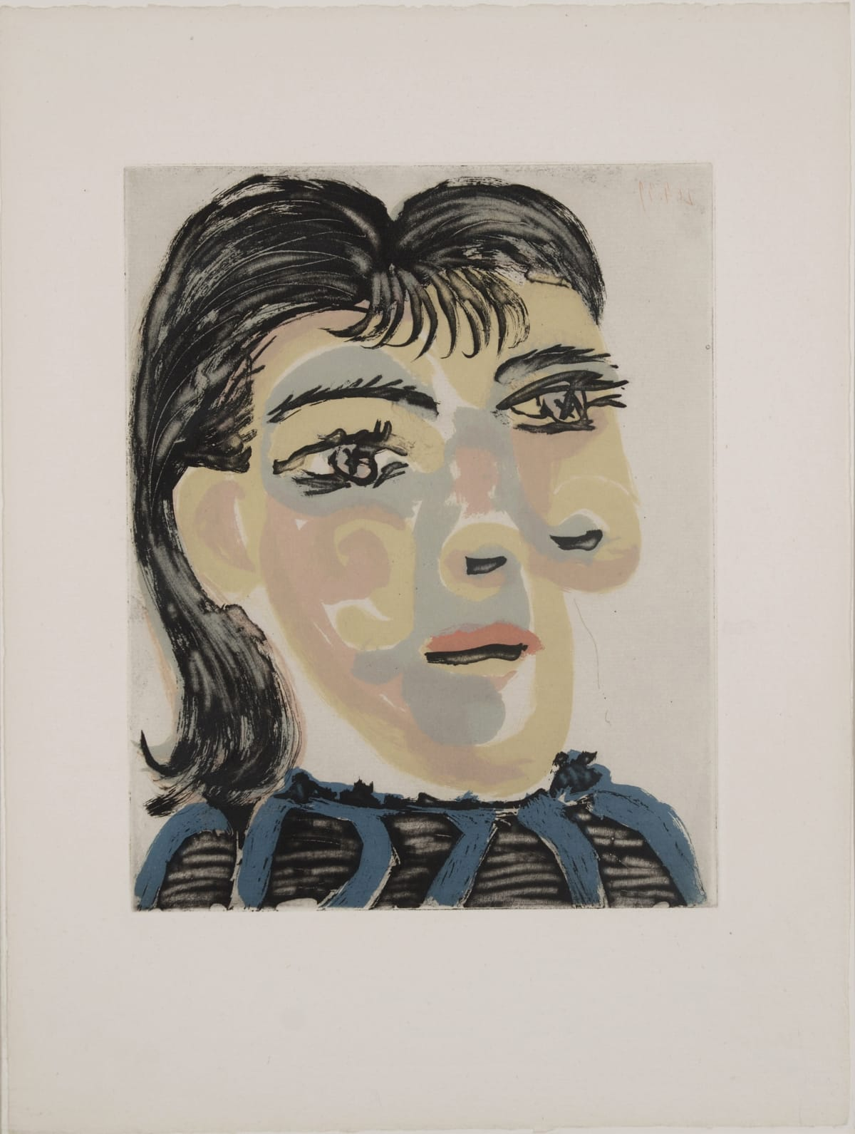 Pablo Picasso Tête de femme n° 2 (Portrait of Dora Maar), 1939 Aquatint, scraper and drypoint in four colors Plate size: 29,9 x 23,7 / 11,8 x 9,3 in. Aquatint, scraper and drypoint in four colors on four copper plates 104 prints on Montval paper. These proofs are neither numbered nor signed.