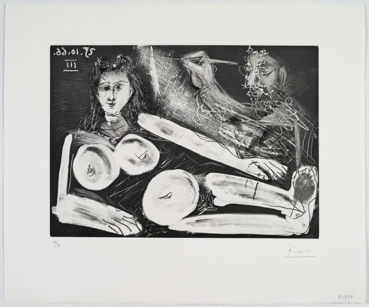 Pablo Picasso Peintre et son modèle au collier, 1966 Aquatint 37.5 x 27 cm Numbered on the lower left « 35/50 »