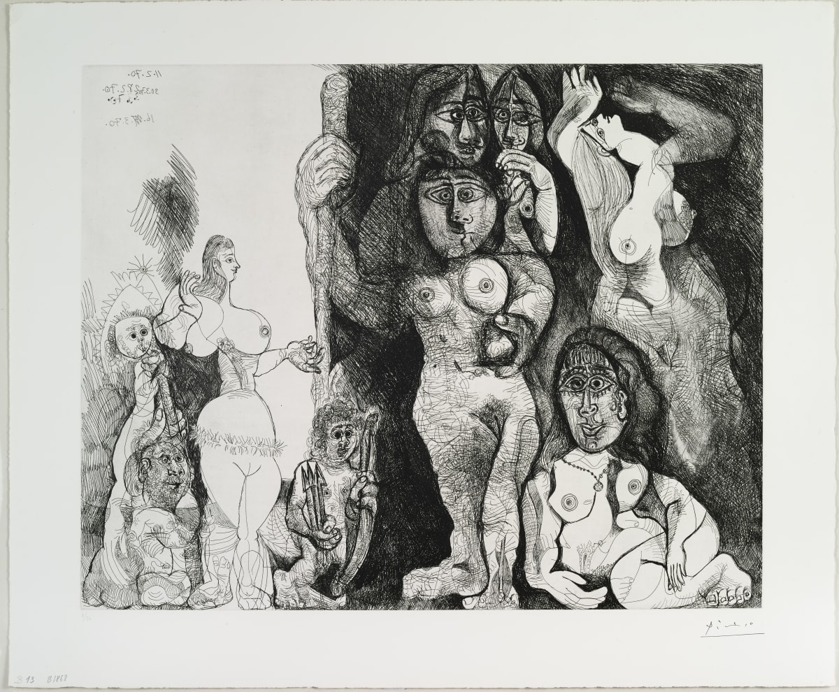 Pablo Picasso Spectacle: L'Amour s'aventurant chez les femmes,, 1970 Etching 63 x 50.5 cm Numbered on the lower left « 8/50 »
