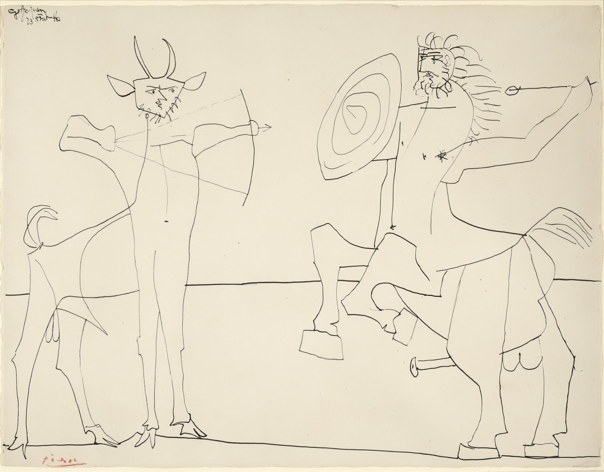 Pablo Picasso Combat de Faune et de Centaure, 1946 China ink on paper 50,5 x 66 cm 76 x 92 cm (framed)