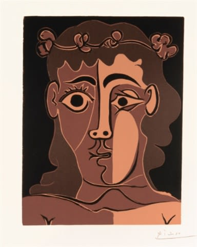 Pablo Picasso Jeune Homme couronné de feuillage, 1963 Linoleum cut printed in colors on arches wove paper. Image: 35 x 27 cm Sheet: 63 x 44,5 cm A proof aside from the edition of 50 printed by Arnera, Vallauris, published by Galerie Louise Leiris, Paris.