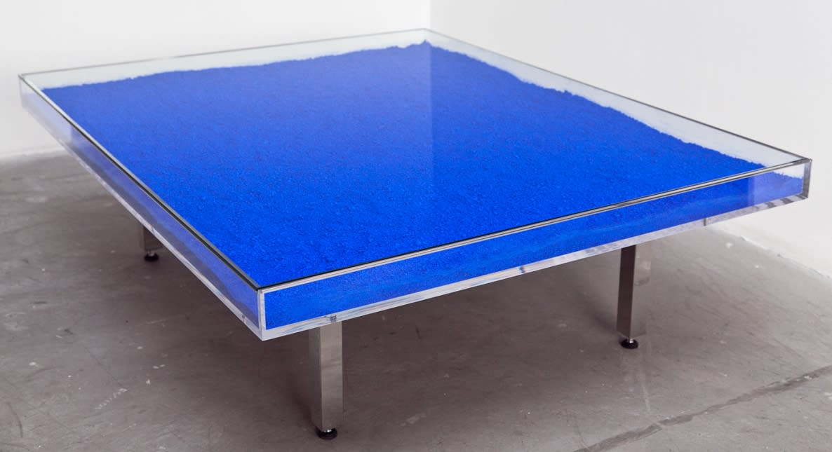 Yves Klein Blue Table, Pink Table, Gold Table, 1963 Glass, plexiglas, chrome base and IKB blue pigments, pink pigments, or gold leaf. 126 x 39 x 100 cm These works are part of an edition started in 1963, under the supervision of Rotraut Klein-Moquet, from a design by Yves Klein.