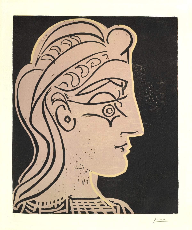 Pablo Picasso Tête de femme de Profil, 1959 Linocut on Arches paper 75.2 x 62.2 cm 16/50