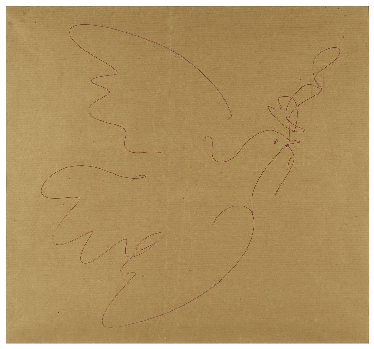 Pablo Picasso La Colombe de la Paix, c. 1953 Red ink pen on kraft paper 44 x 48 cm