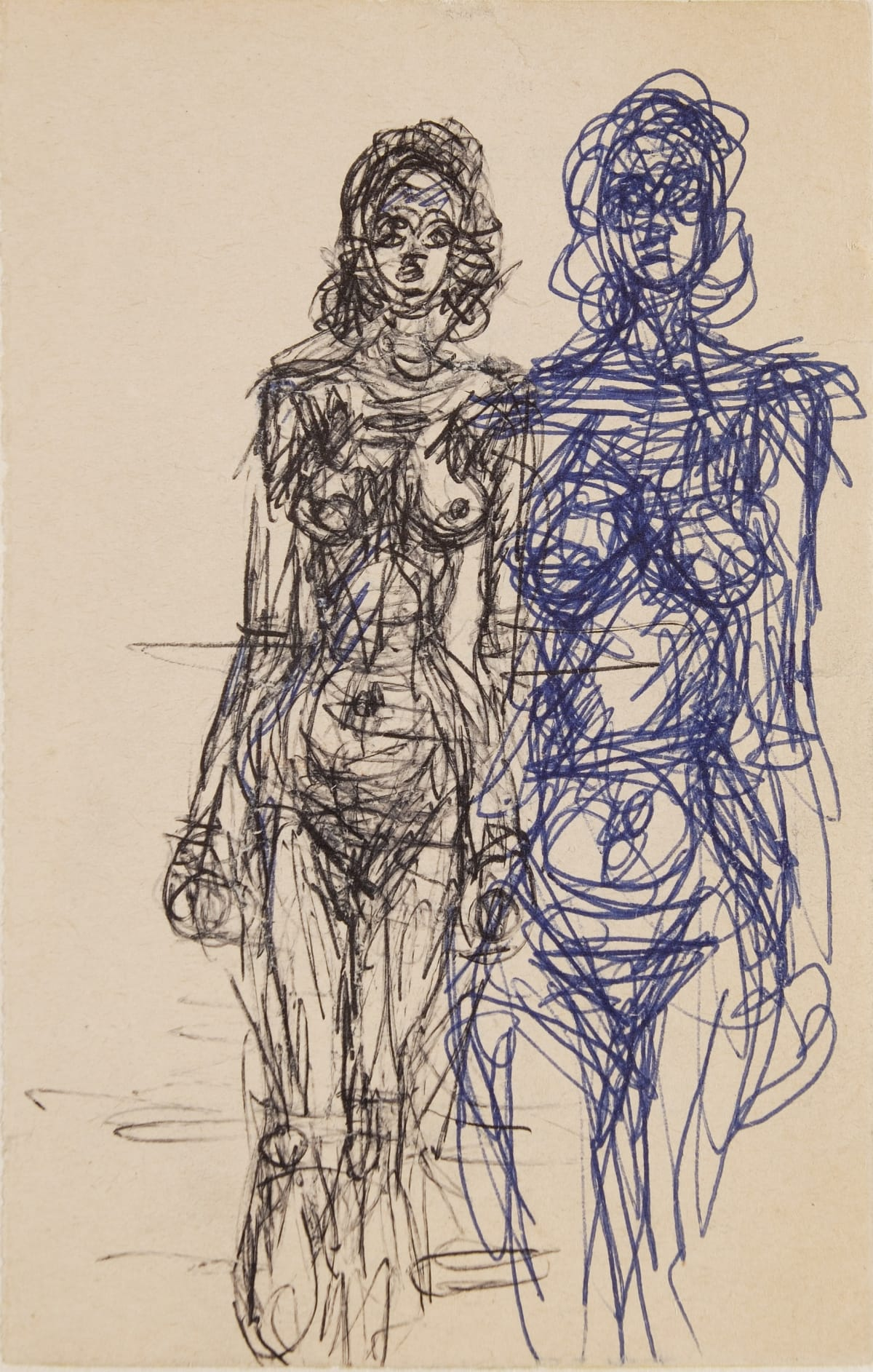 Alberto Giacometti Two Standing Nudes, 1963 Blue and black ball-point on a book page belonging to the Série Noire H 18 x 11,6 cm / framed : 43 x 37 cm H 7 x 4.5 in. / framed : 17 x 14.5 in.