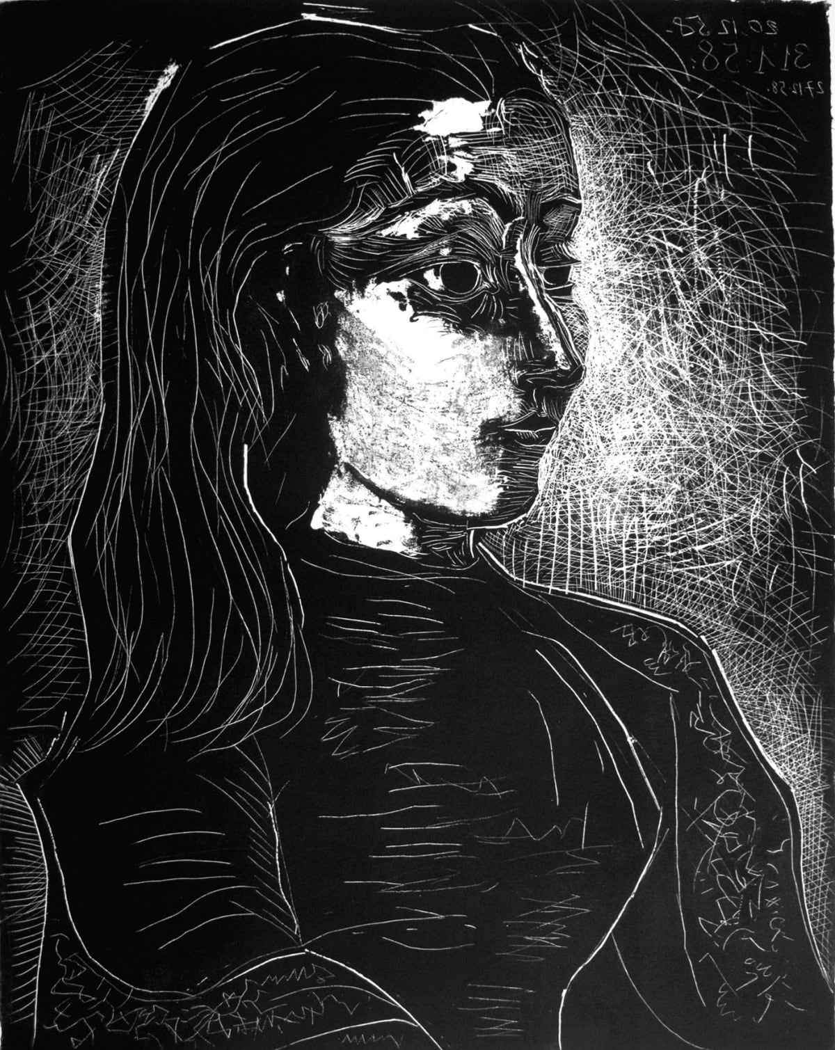 Pablo Picasso Jacqueline de profil à droite, 1958 Lithograph on Arches wove paper Image 557 x 440 mm. Sheet 655 x 502 mm. Numbered 48/50 (there were also six proofs for the artist and printer)